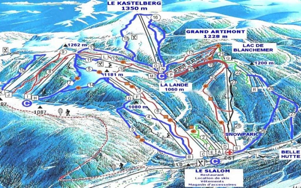 Vogezen Wintersport La Bresse Honeck Pistekaart