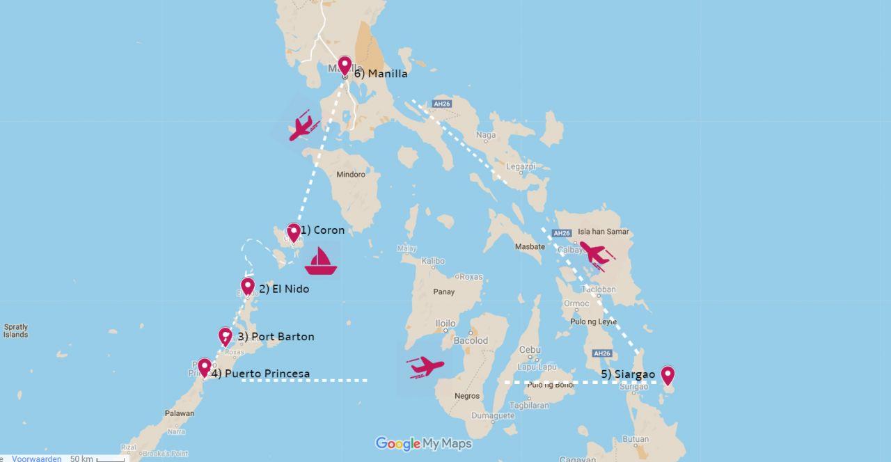 Rondreis Filipijnen routekaart