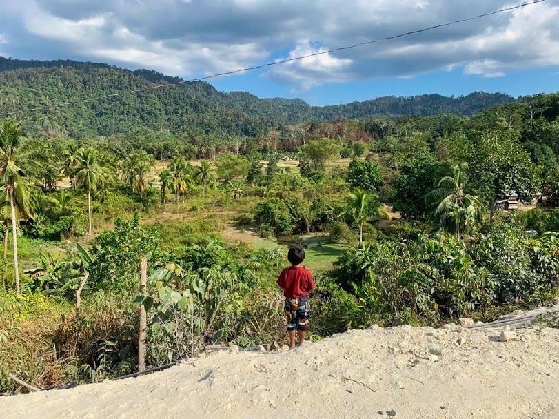 foto jongetje uitkijkend over jungle Filipijnen