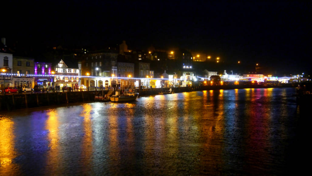 Whitby city by night