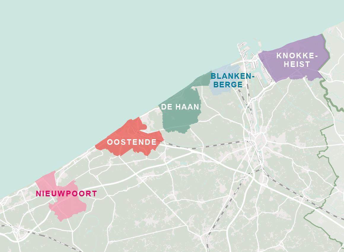 Belgische kust Overzichtskaart
