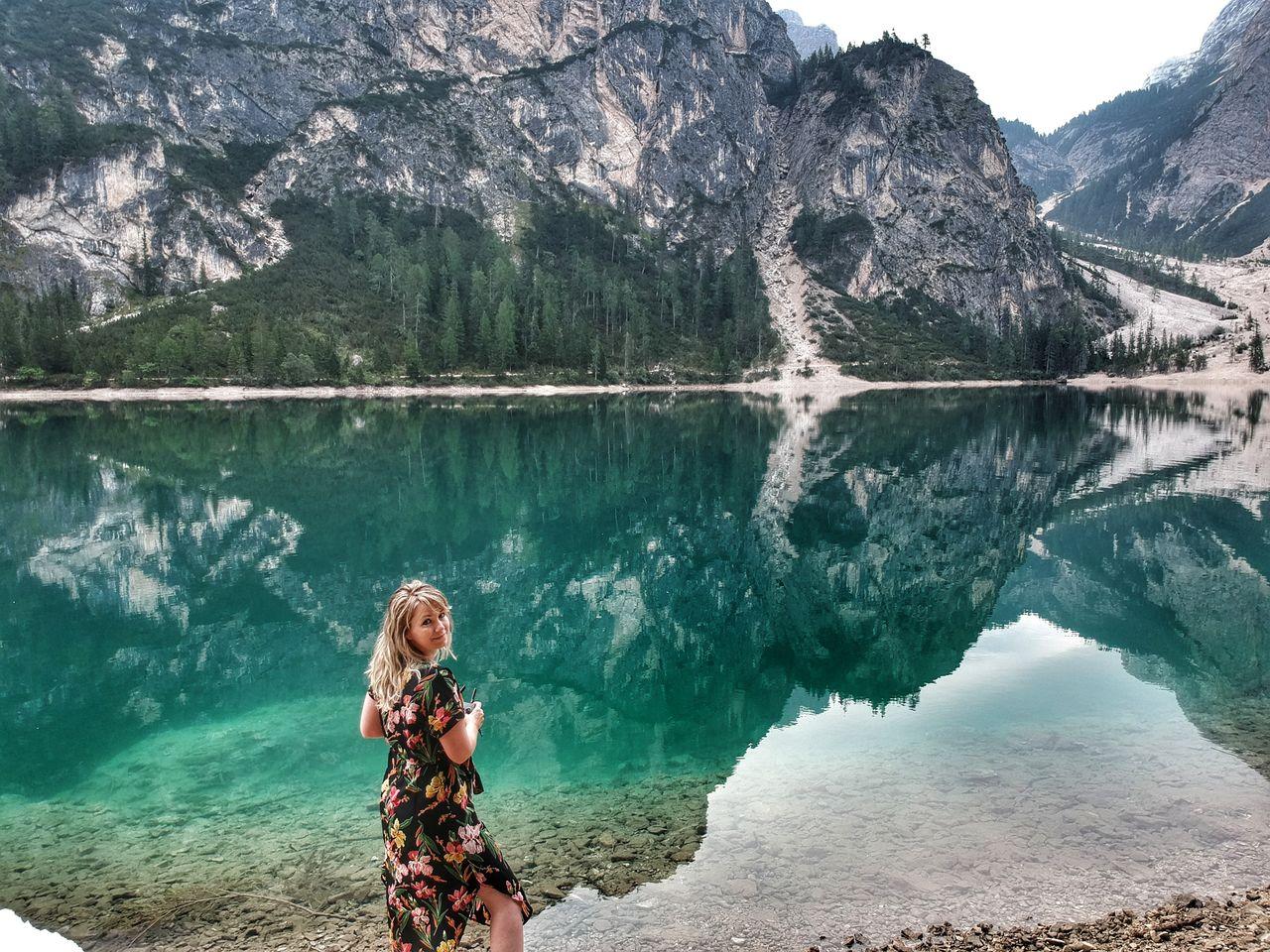 Lago di Braies Pragser Wildsee Zuid Tirol drone